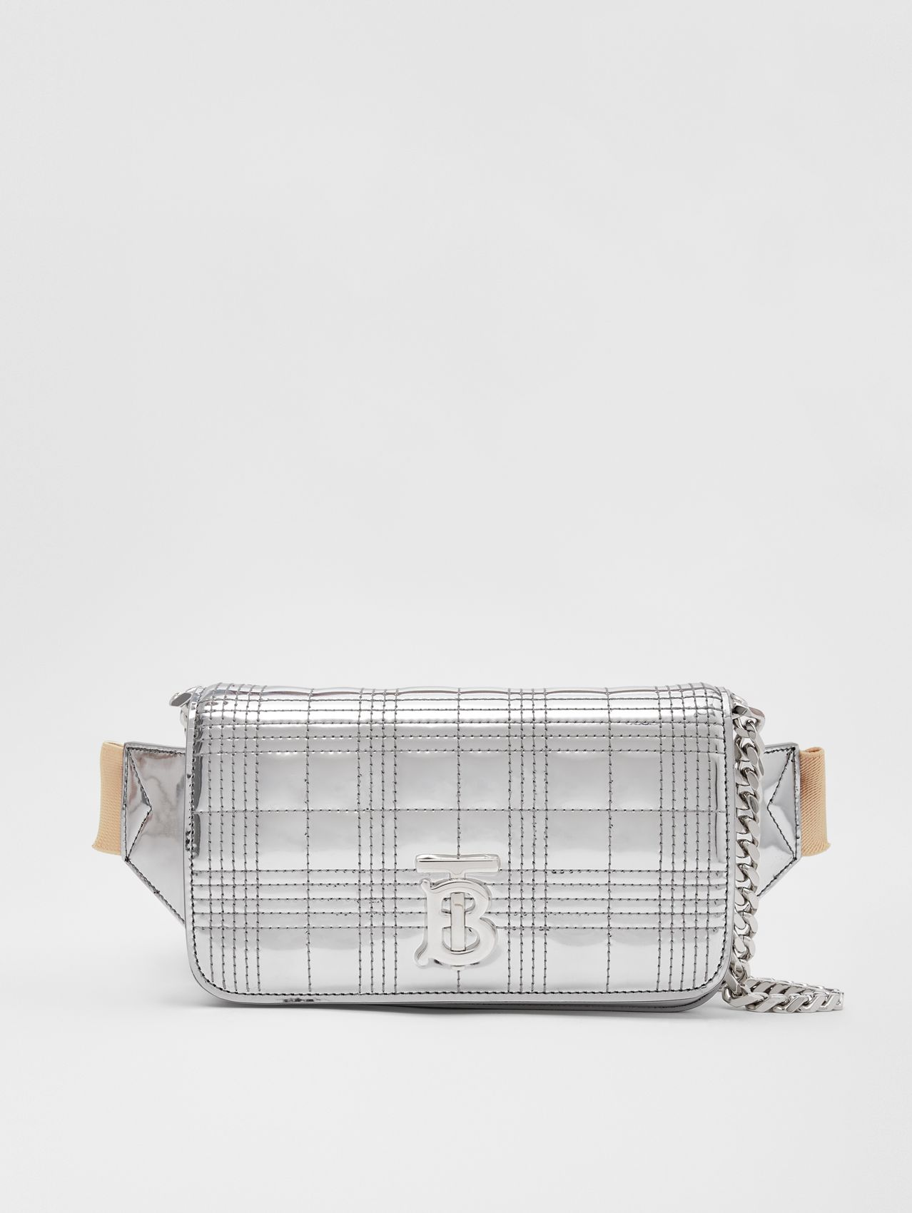 Quilted Metallic Lola Bum Bag with Chain Strap in Silver