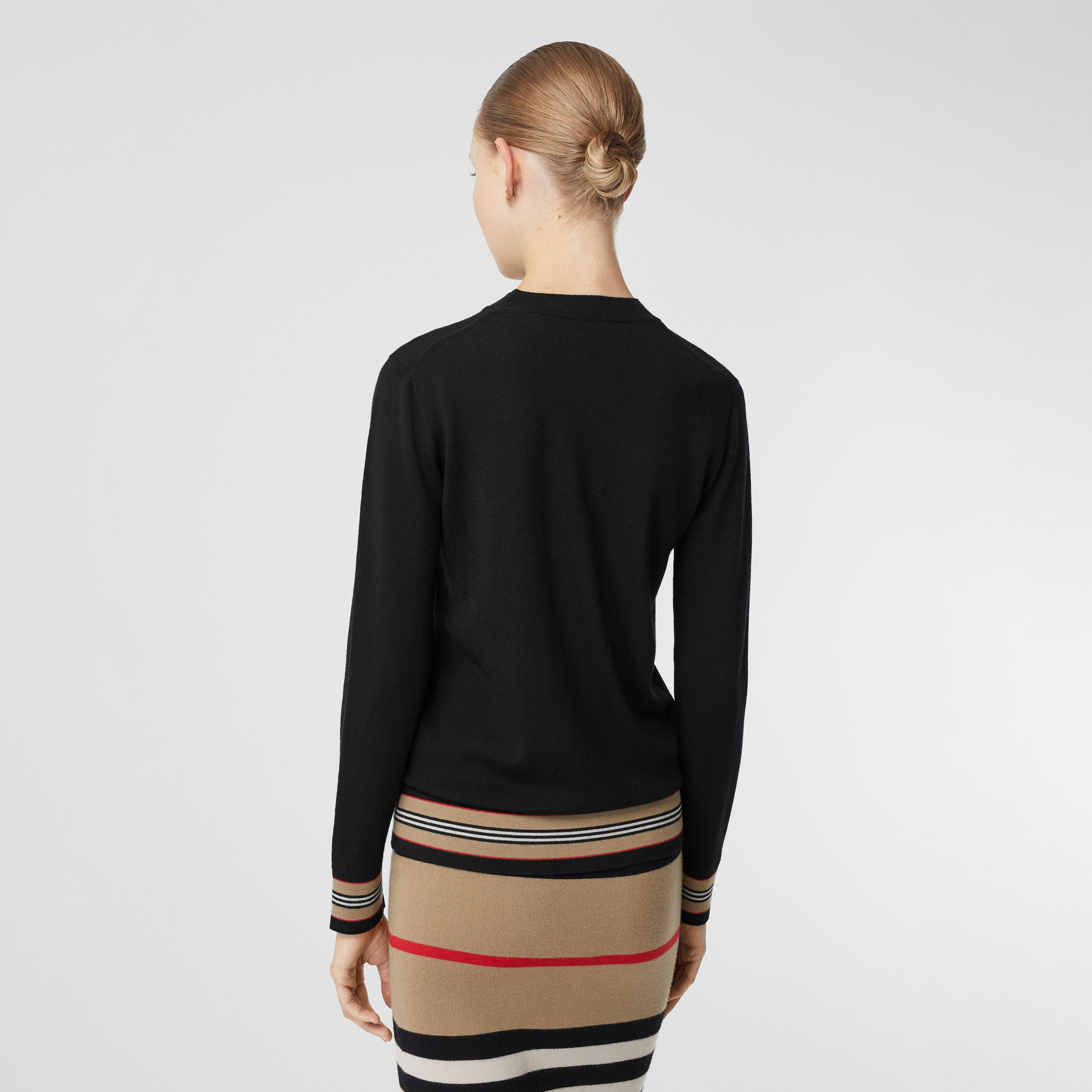Icon Stripe Detail Merino Wool Sweater in Black - Women | Burberry Canada - 3