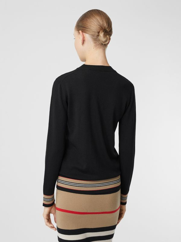 Icon Stripe Detail Merino Wool Sweater in Black - Women | Burberry Hong Kong S.A.R - cell image 2