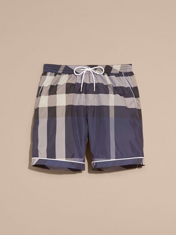 Check Print Swim Shorts with Piping Detail Ink