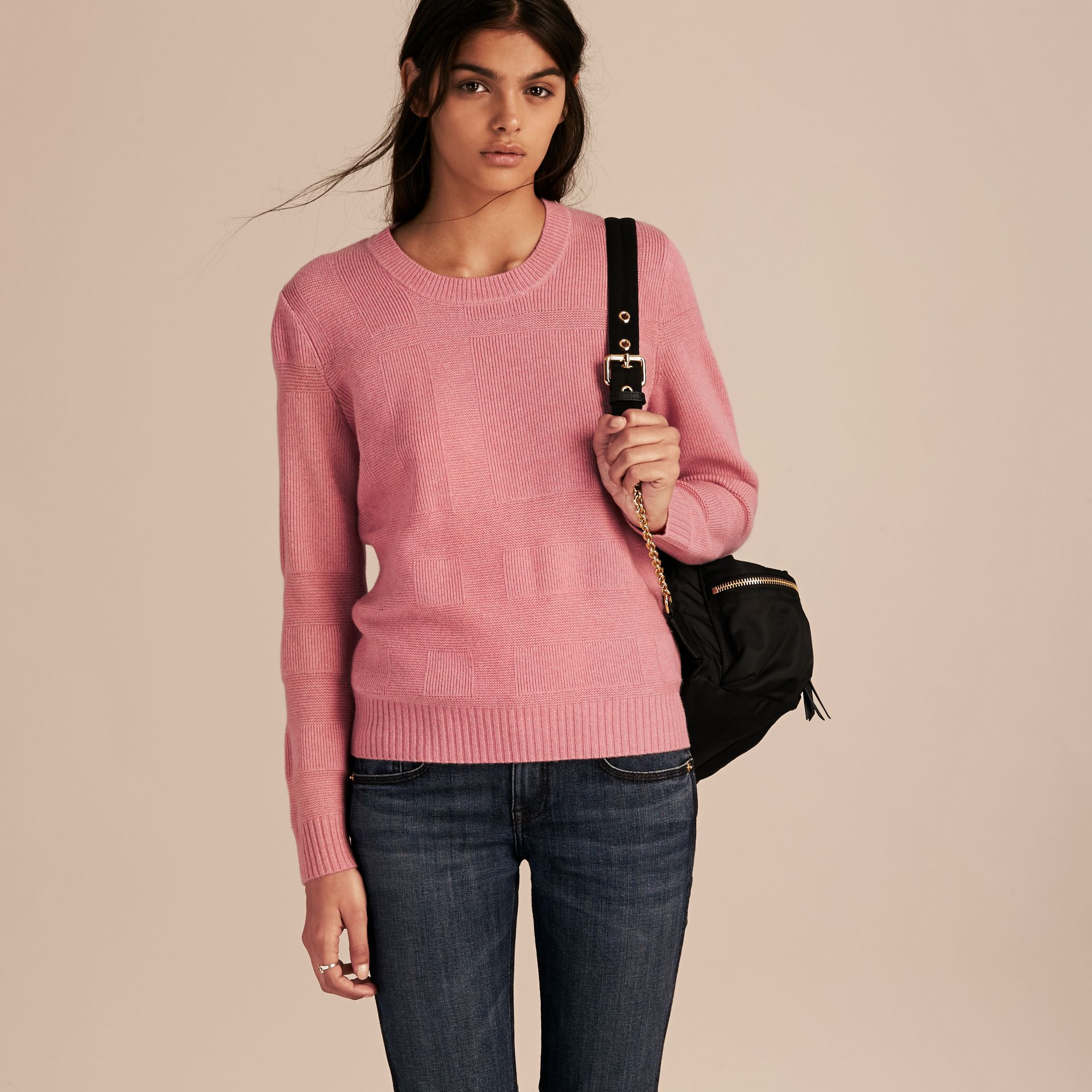 Check-knit Wool Cashmere Sweater in Hydrangea Pink Melange - gallery image 6