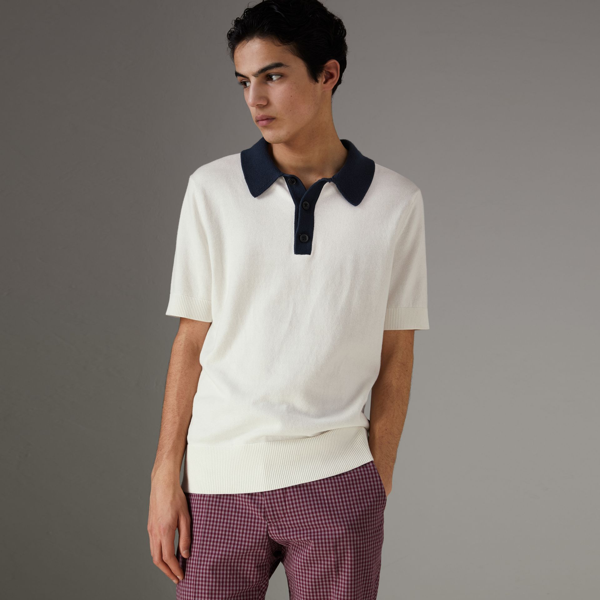 Two-tone Knitted Cotton Polo Shirt in Natural White - Men | Burberry Australia - gallery image 0