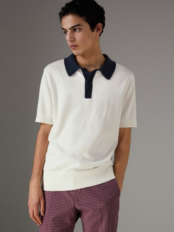 Two-tone Knitted Cotton Polo Shirt in Natural White