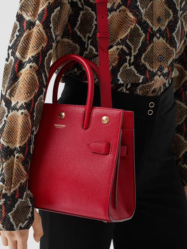 Mini Leather Two-handle Title Bag in Dark Carmine | Burberry - cell image 2