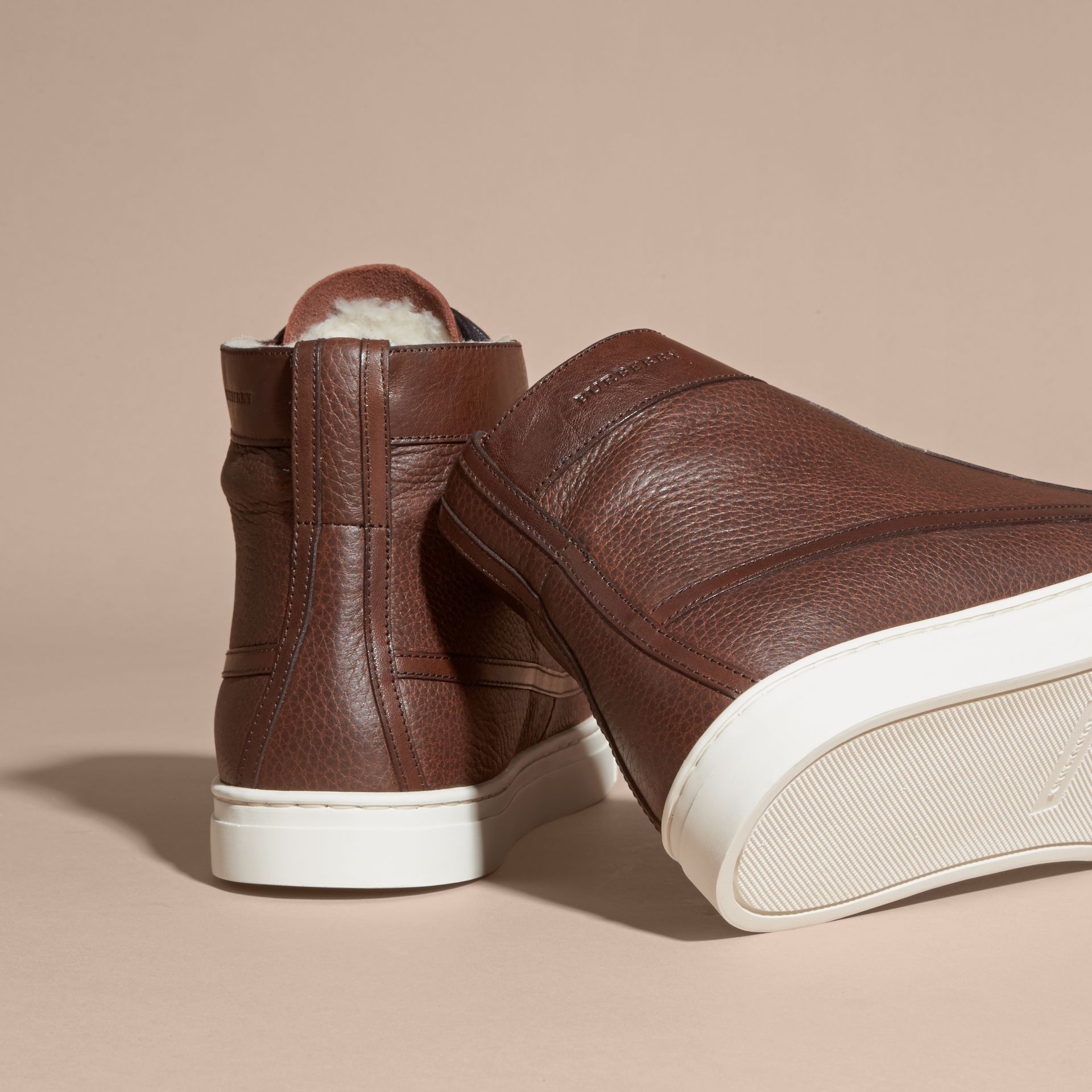 Bitter chocolate Shearling Lined Leather High-top Trainers - gallery image 4