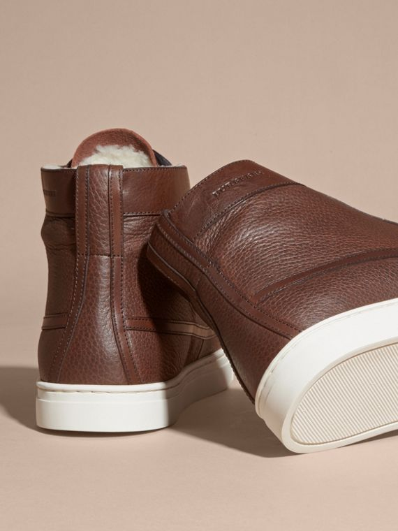 Bitter chocolate Shearling Lined Leather High-top Trainers - cell image 3