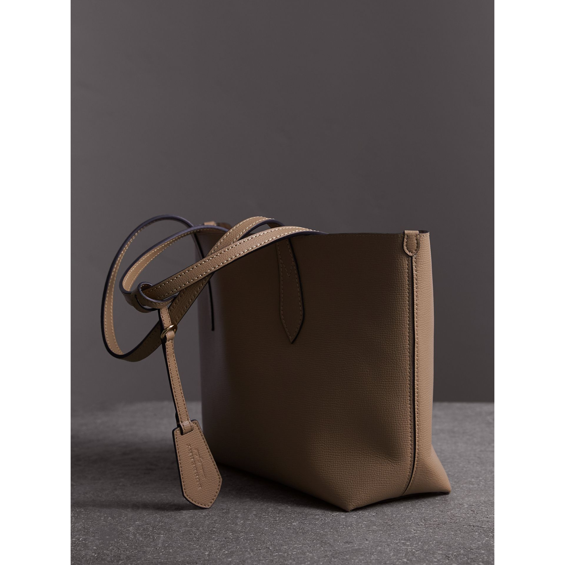 The Small Reversible Tote in Haymarket Check and Leather in Mid Camel - Women | Burberry - gallery image 4