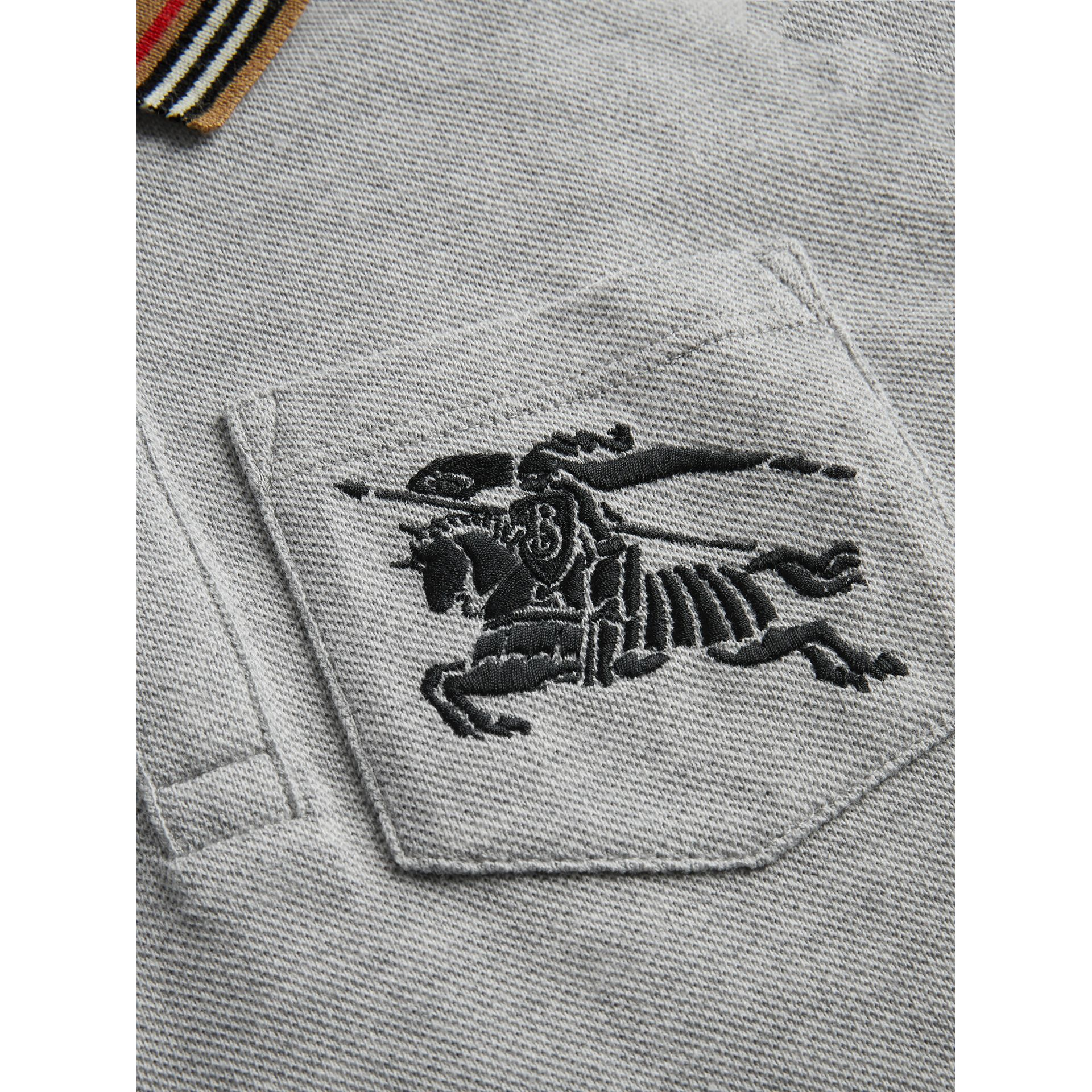Icon Stripe Detail Cotton Polo Shirt in Grey Melange | Burberry - gallery image 1