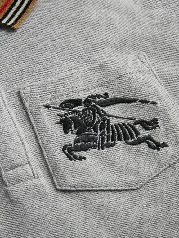 Icon Stripe Detail Cotton Polo Shirt in Grey Melange | Burberry - cell image 1