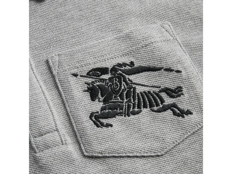Heritage Stripe Detail Cotton Polo Shirt in Grey Melange - Boy | Burberry - cell image 1