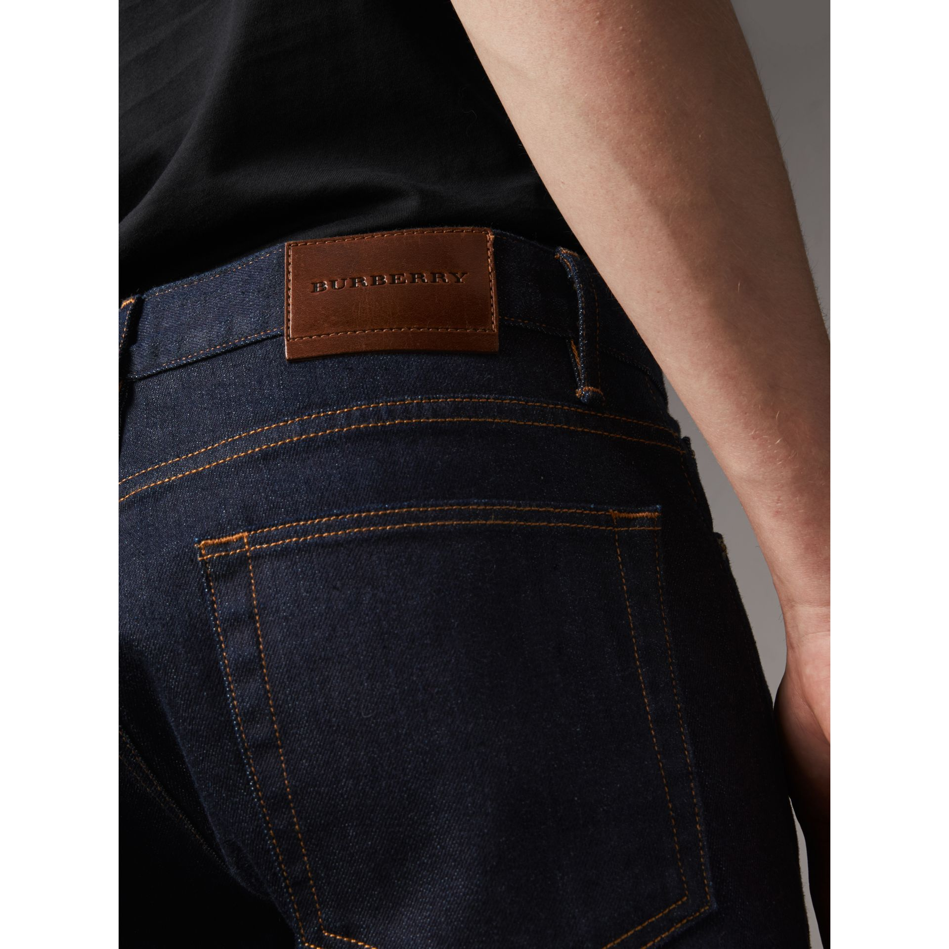Straight Fit Stretch Japanese Selvedge Denim Jeans in Dark Indigo - Men | Burberry - gallery image 1