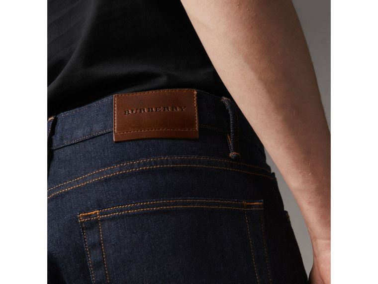 Straight Fit Stretch Japanese Selvedge Denim Jeans in Dark Indigo - Men | Burberry United Kingdom - cell image 1
