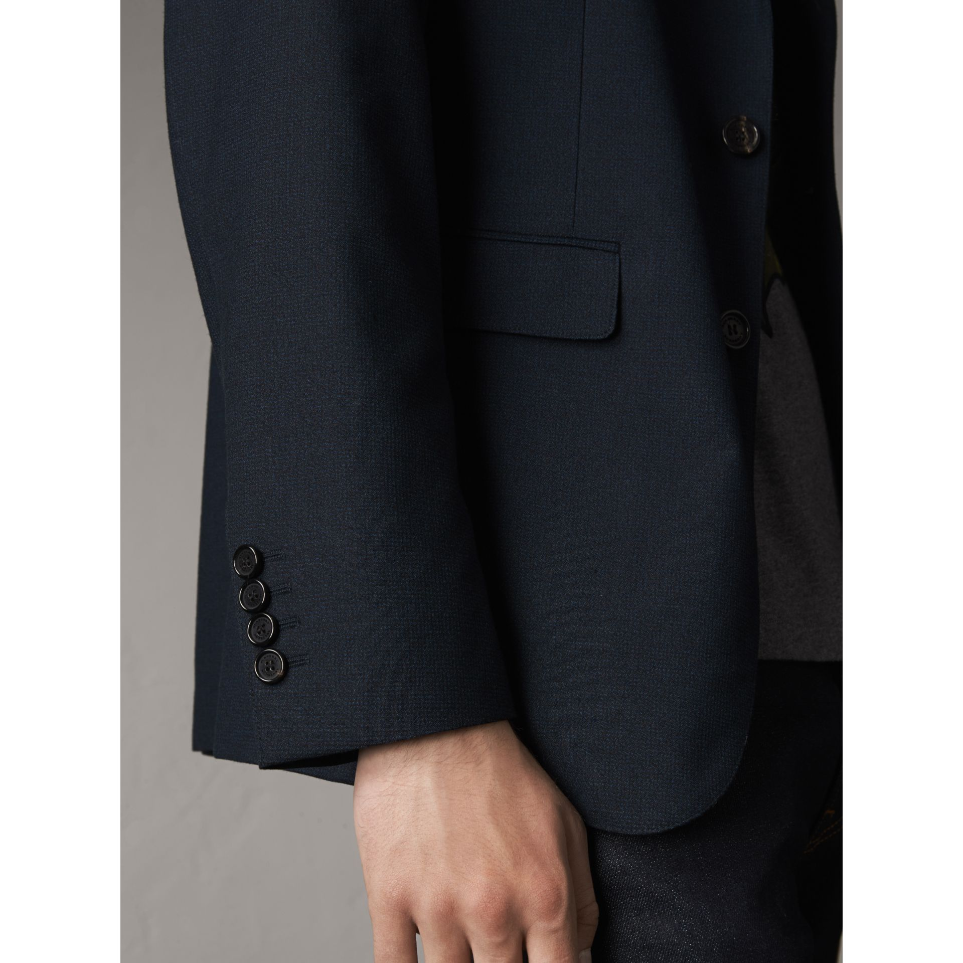Micro Houndstooth Cotton Wool Blend Blazer in Navy - Men | Burberry United Kingdom - gallery image 5