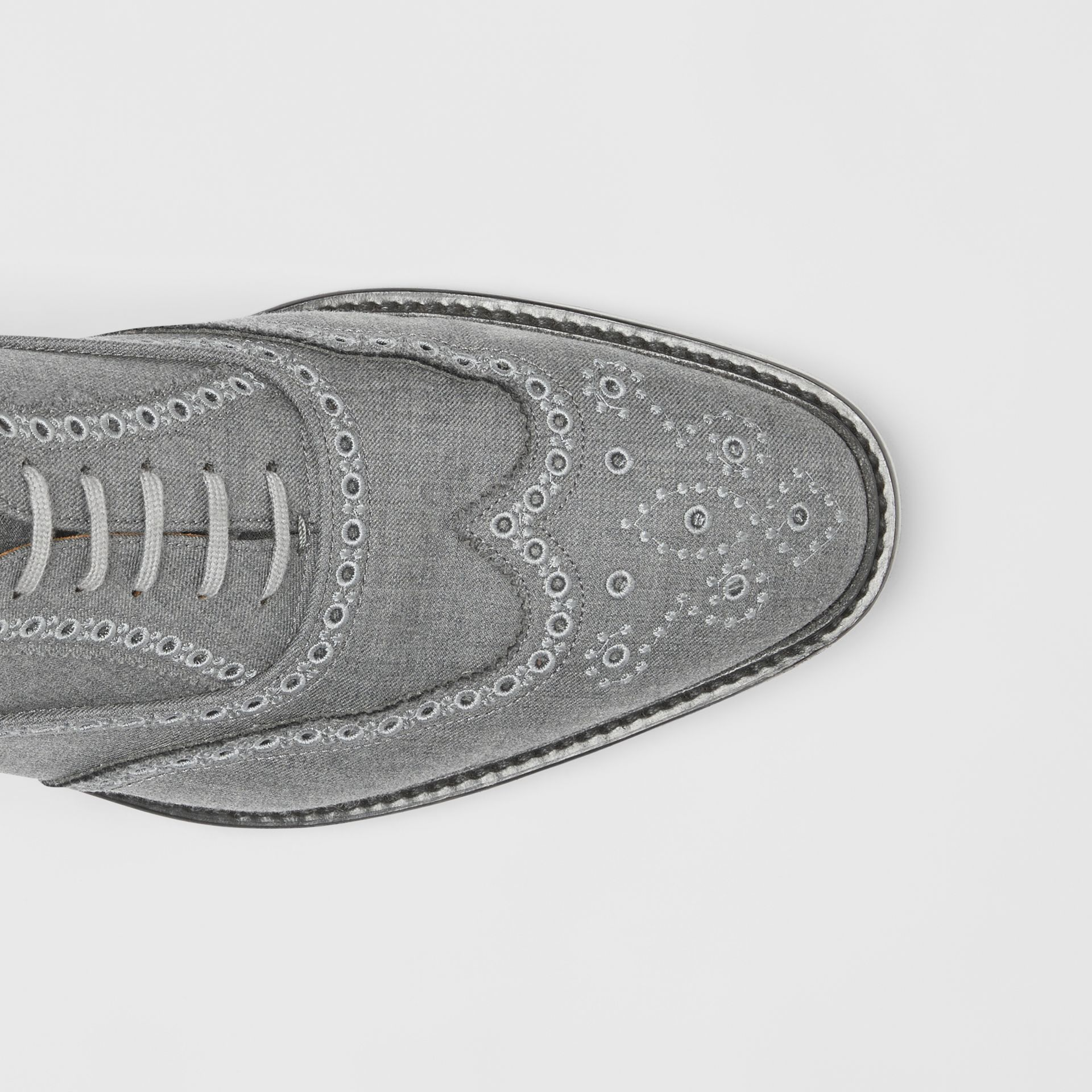 Embroidered Wool Brogues in Light Grey | Burberry United Kingdom - gallery image 1