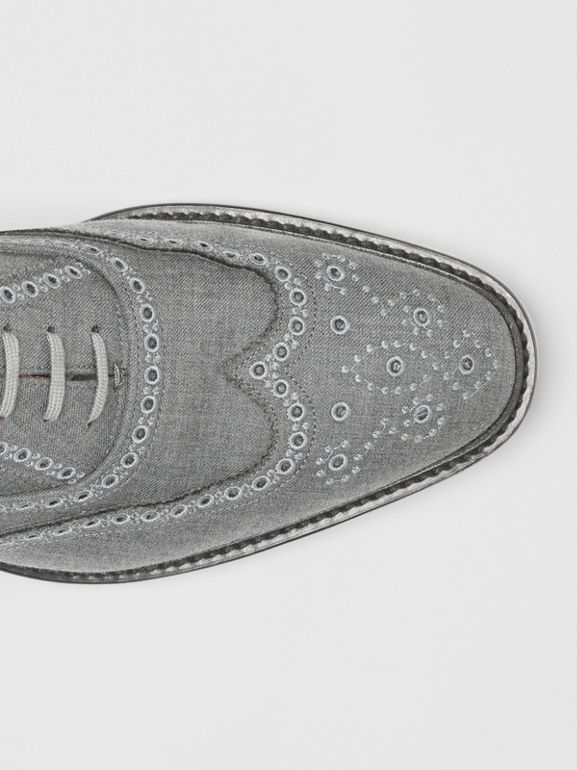 Embroidered Wool Brogues in Light Grey | Burberry United Kingdom - cell image 1