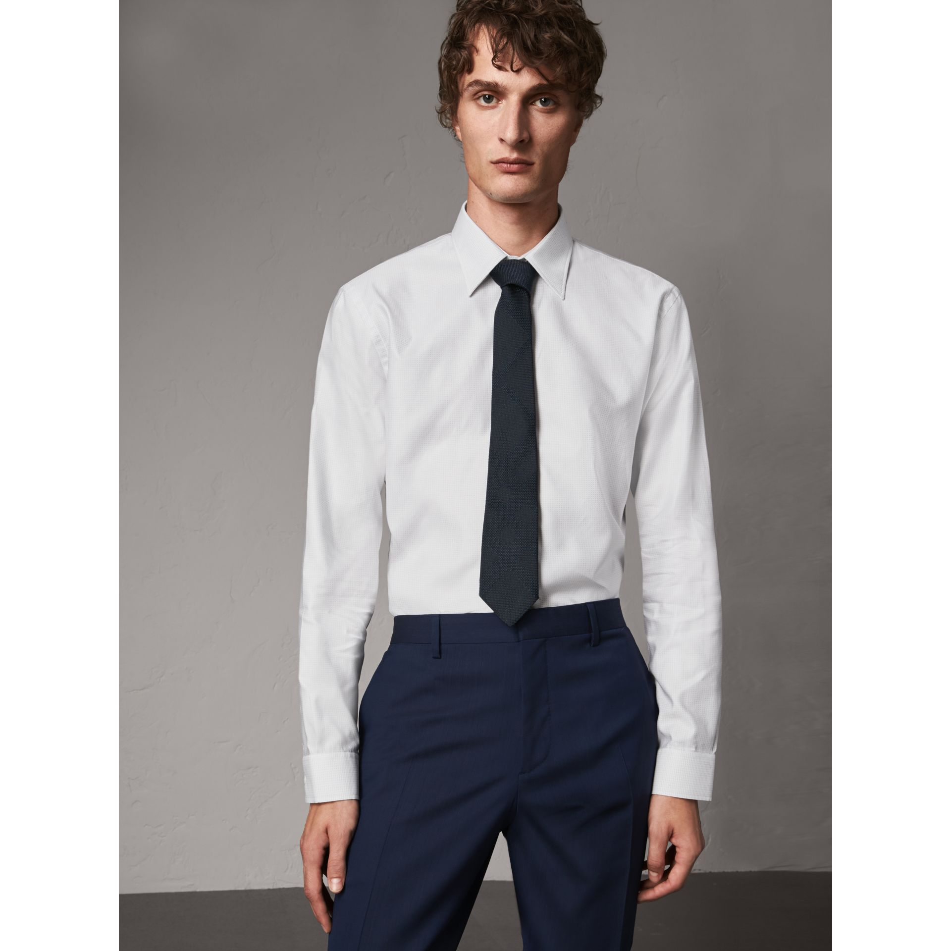 Modern Fit Pin Dot Dobby Cotton Shirt in White - Men | Burberry - gallery image 0