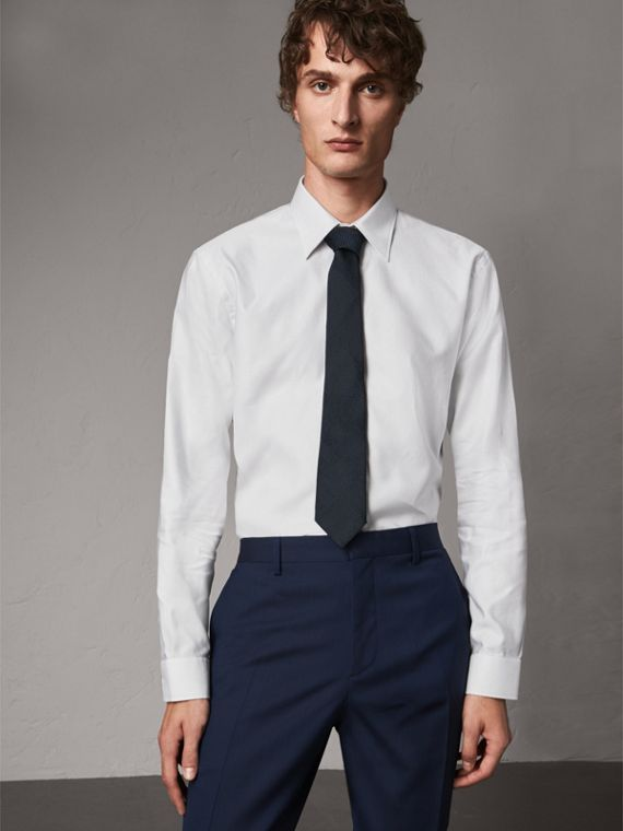 Modern Fit Pin Dot Dobby Cotton Shirt in White