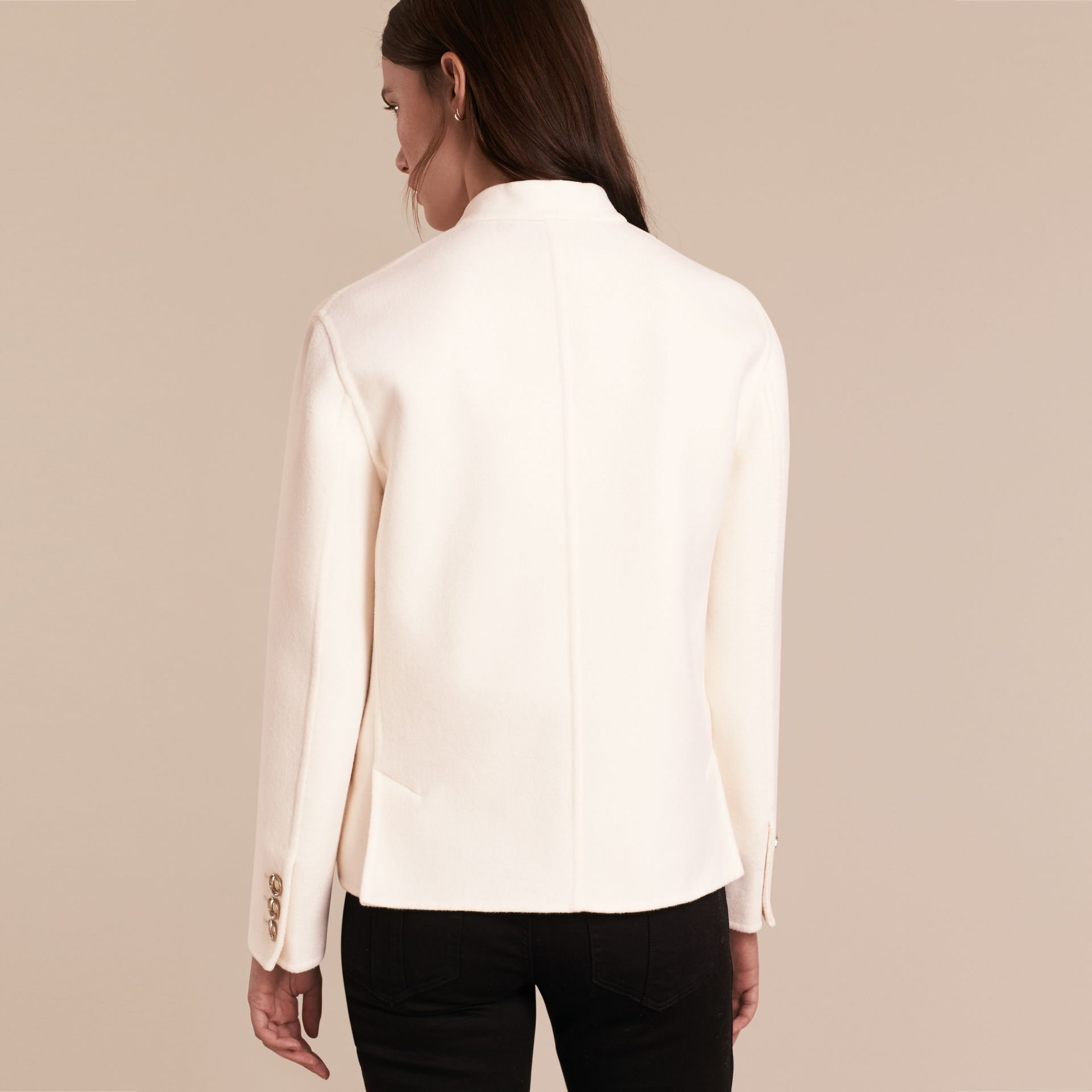 White Double-breasted Wool Cashmere Regimental Jacket - gallery image 3