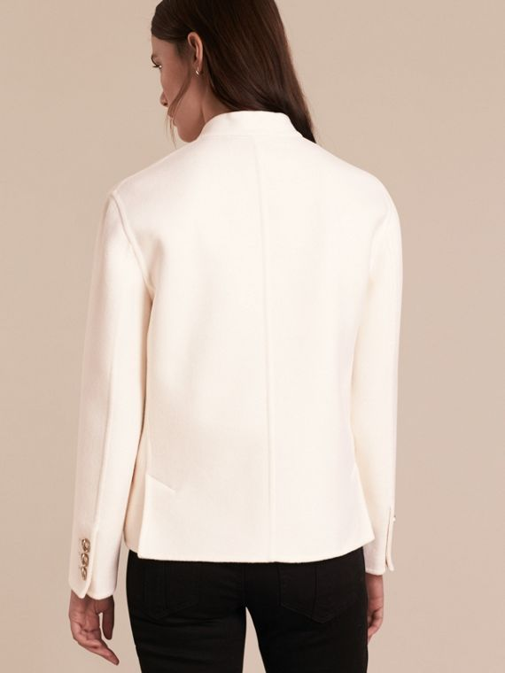 White Double-breasted Wool Cashmere Regimental Jacket - cell image 2