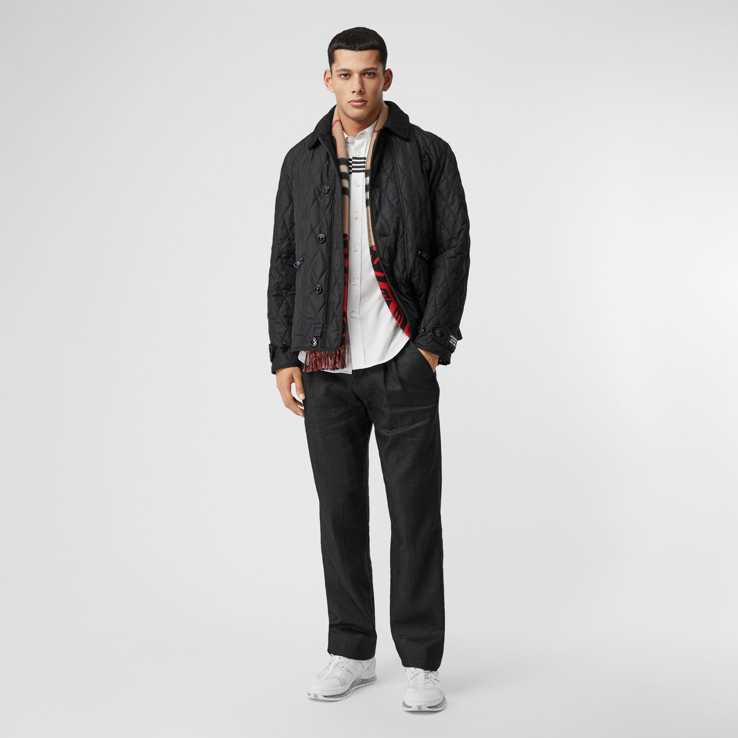 Diamond Quilted Jacket with Warmer in Black - Men | Burberry - 1