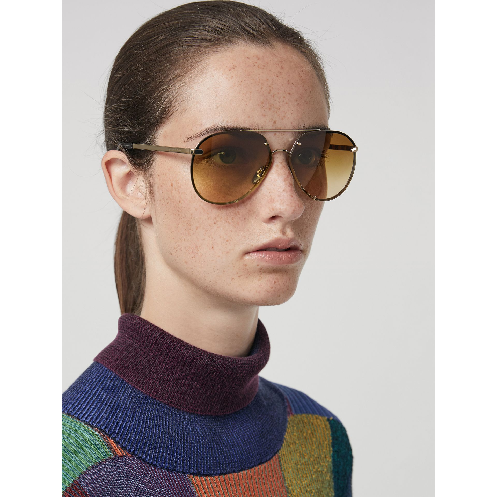 Check Detail Pilot Sunglasses in Brown - Women | Burberry Australia - gallery image 2