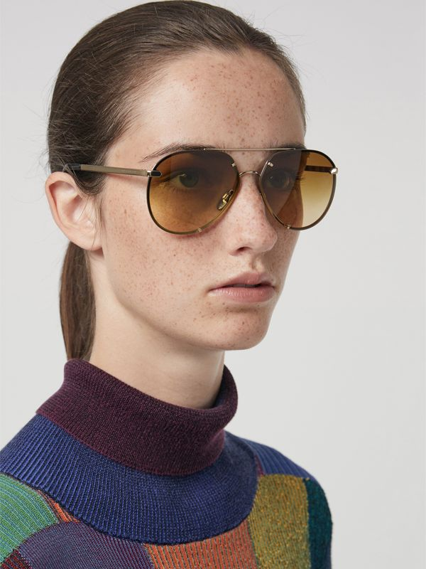 Check Detail Pilot Sunglasses in Brown - Women | Burberry Australia - cell image 2