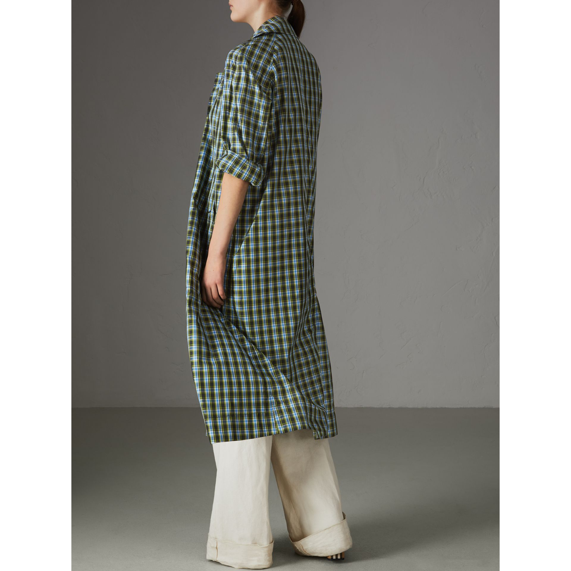 Lightweight Check Extra-long Car Coat in Azure Blue - Women | Burberry - gallery image 2