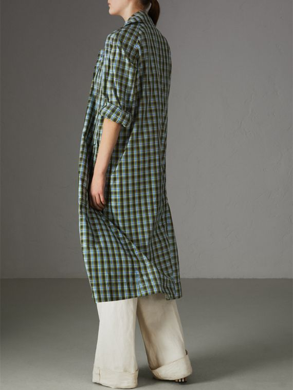 Lightweight Check Extra-long Car Coat in Azure Blue - Women | Burberry - cell image 2