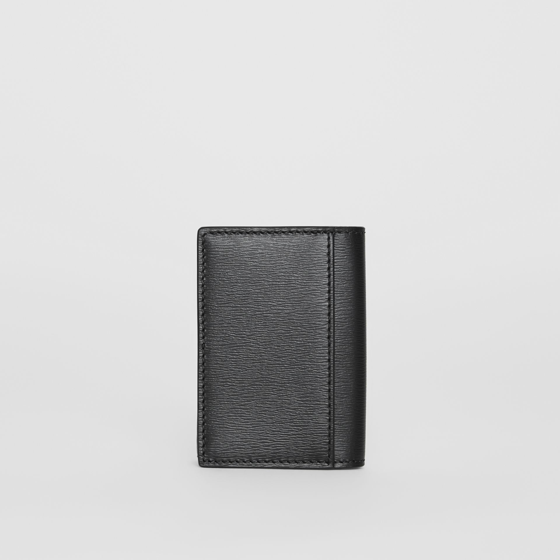 Grainy Leather Folding Card Case in Black - Men | Burberry - gallery image 4