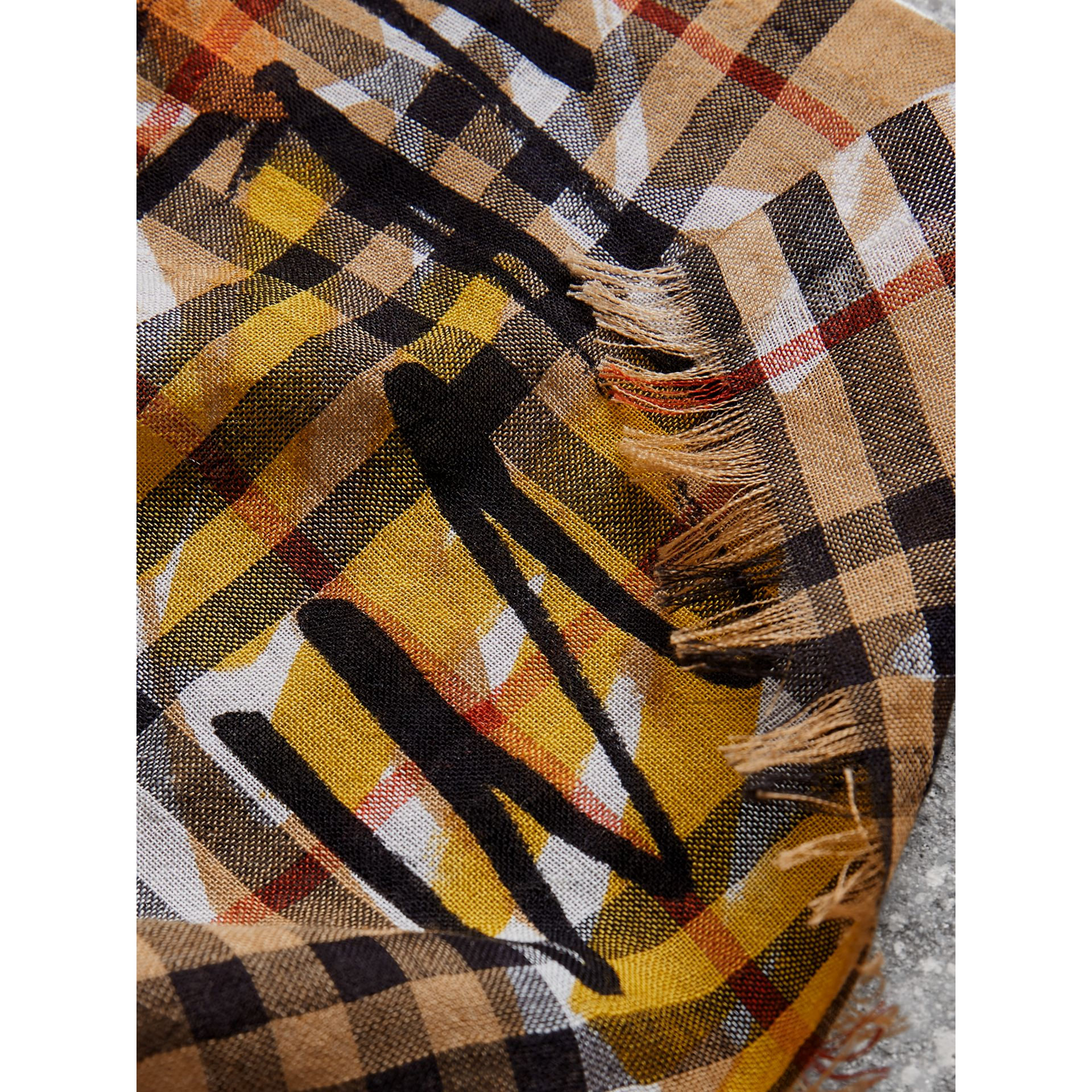 Graffiti Vintage Check Wool Silk Scarf in Antique Yellow | Burberry Australia - gallery image 1