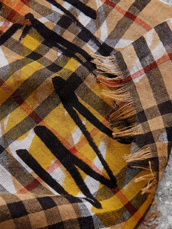 Graffiti Vintage Check Wool Silk Scarf in Antique Yellow | Burberry Australia - cell image 1