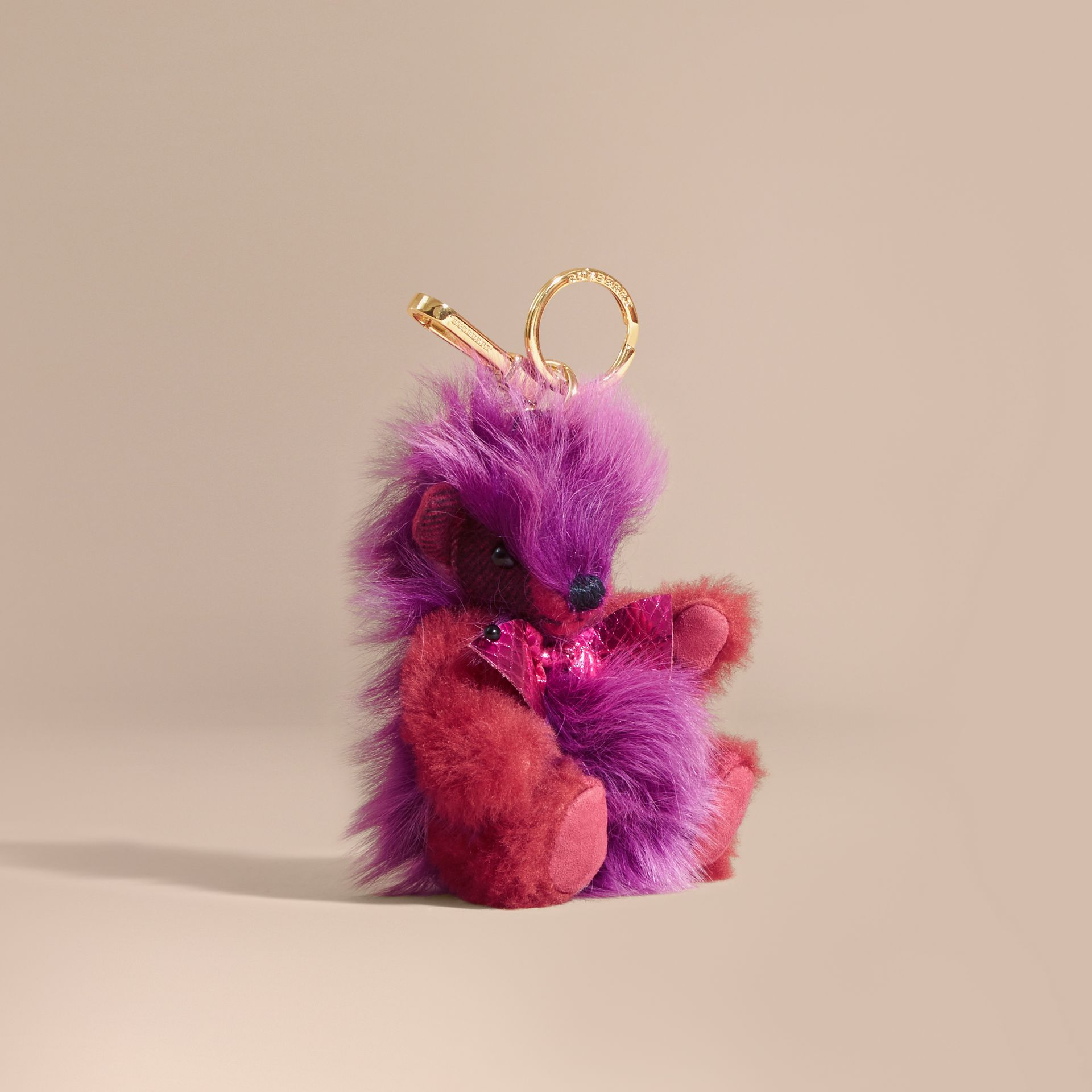 Thomas Bear Pom-Pom Charm in Check Cashmere in Fuchsia Pink - gallery image 1