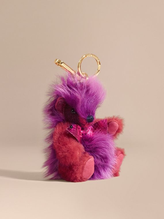 Thomas Bear Pom-Pom Charm in Check Cashmere in Fuchsia Pink