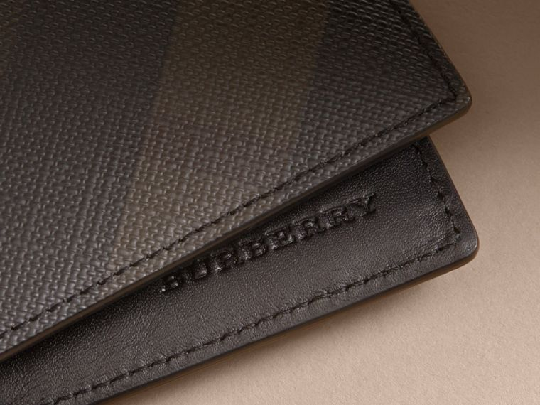 London Check International Bifold Wallet in Chocolate/black - Men | Burberry - cell image 1