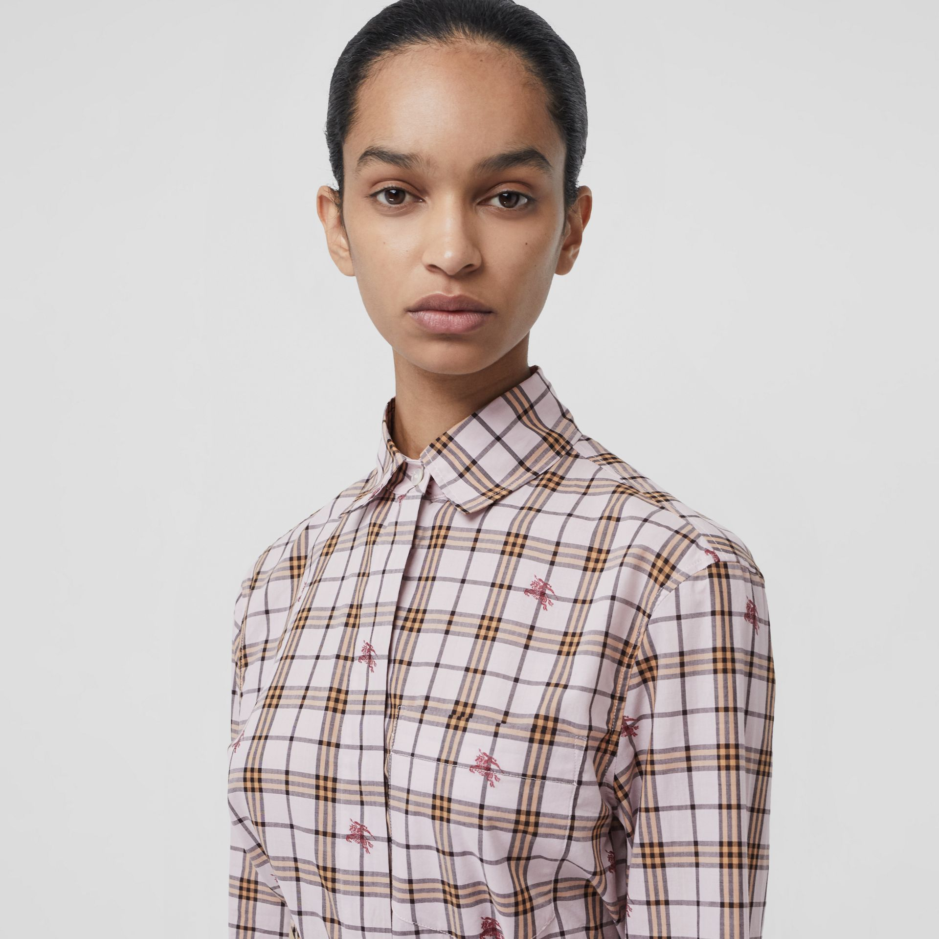 Fil Coupé Check Cotton Shirt in Alabaster Pink - Women | Burberry United Kingdom - gallery image 1