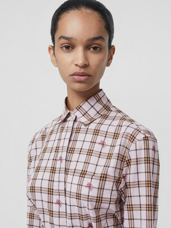 Fil Coupé Check Cotton Shirt in Alabaster Pink - Women | Burberry United Kingdom - cell image 1