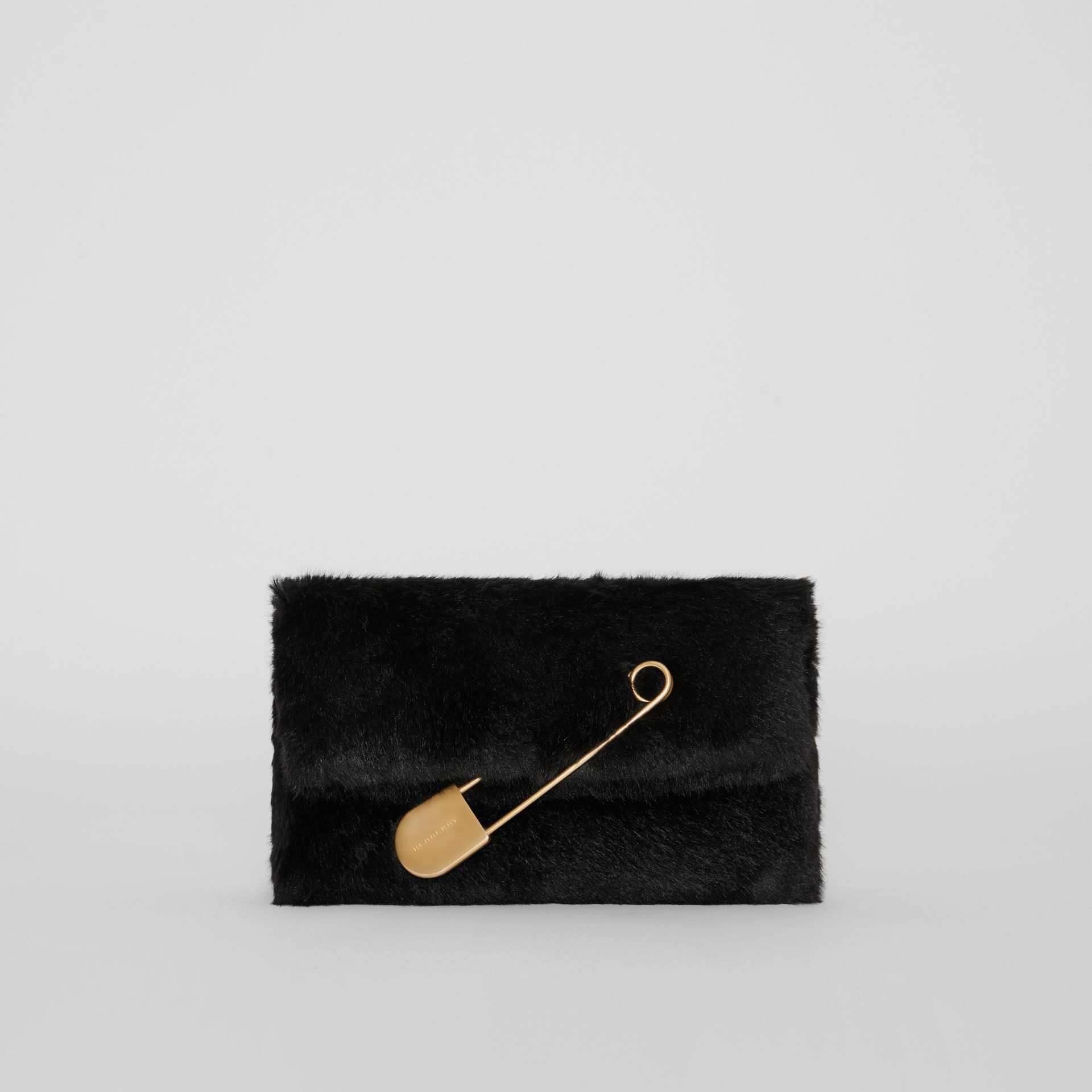 The Medium Pin Clutch in Faux Fur in Black - Women | Burberry - gallery image 0