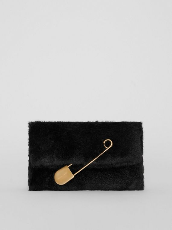 The Medium Pin Clutch in Faux Fur in Black