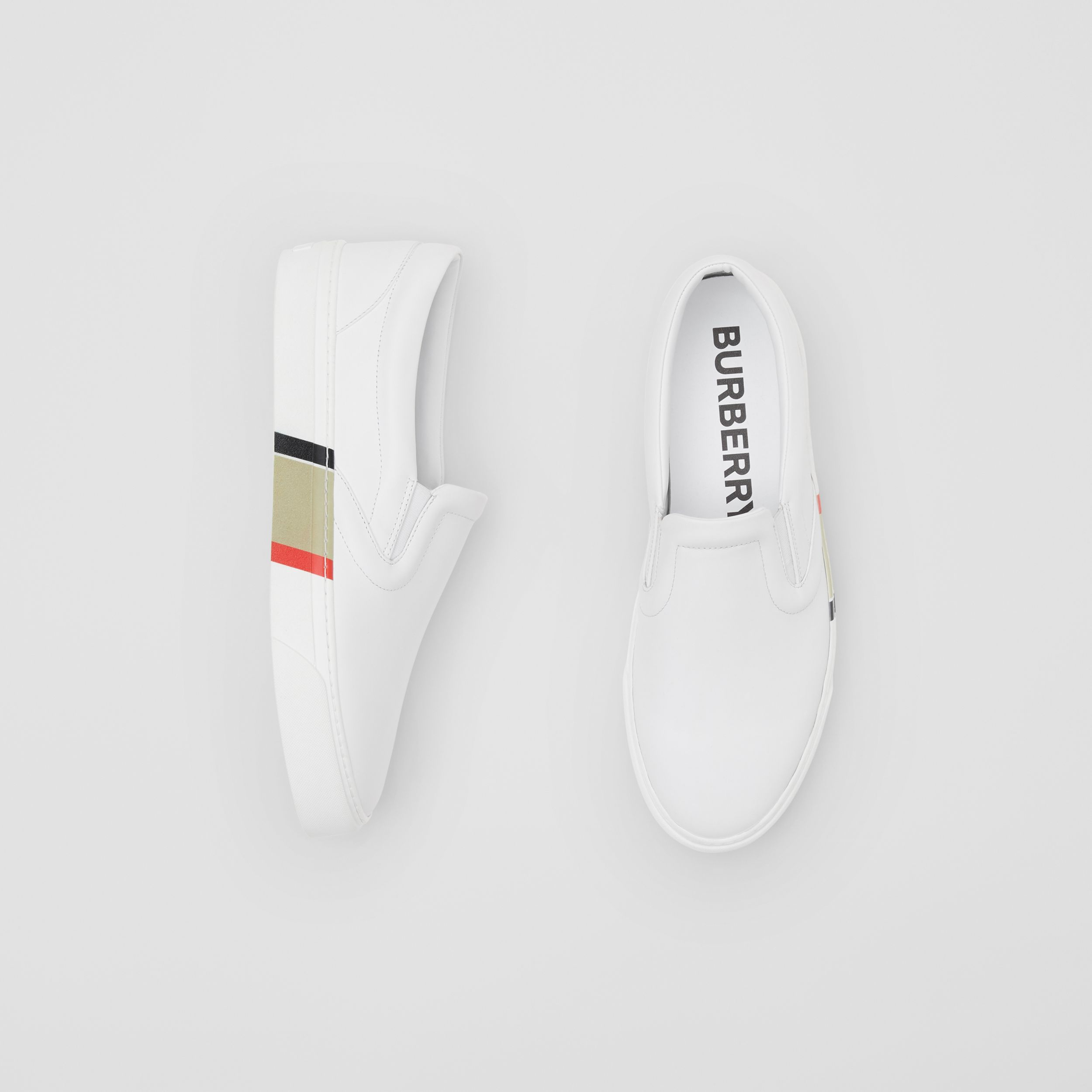 Bio-based Sole Leather Slip-on Sneakers in Optic White - Men | Burberry - 1