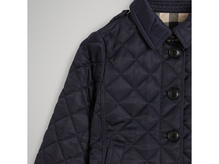 Check Lined Diamond Quilted Jacket in Navy - Girl | Burberry - cell image 4