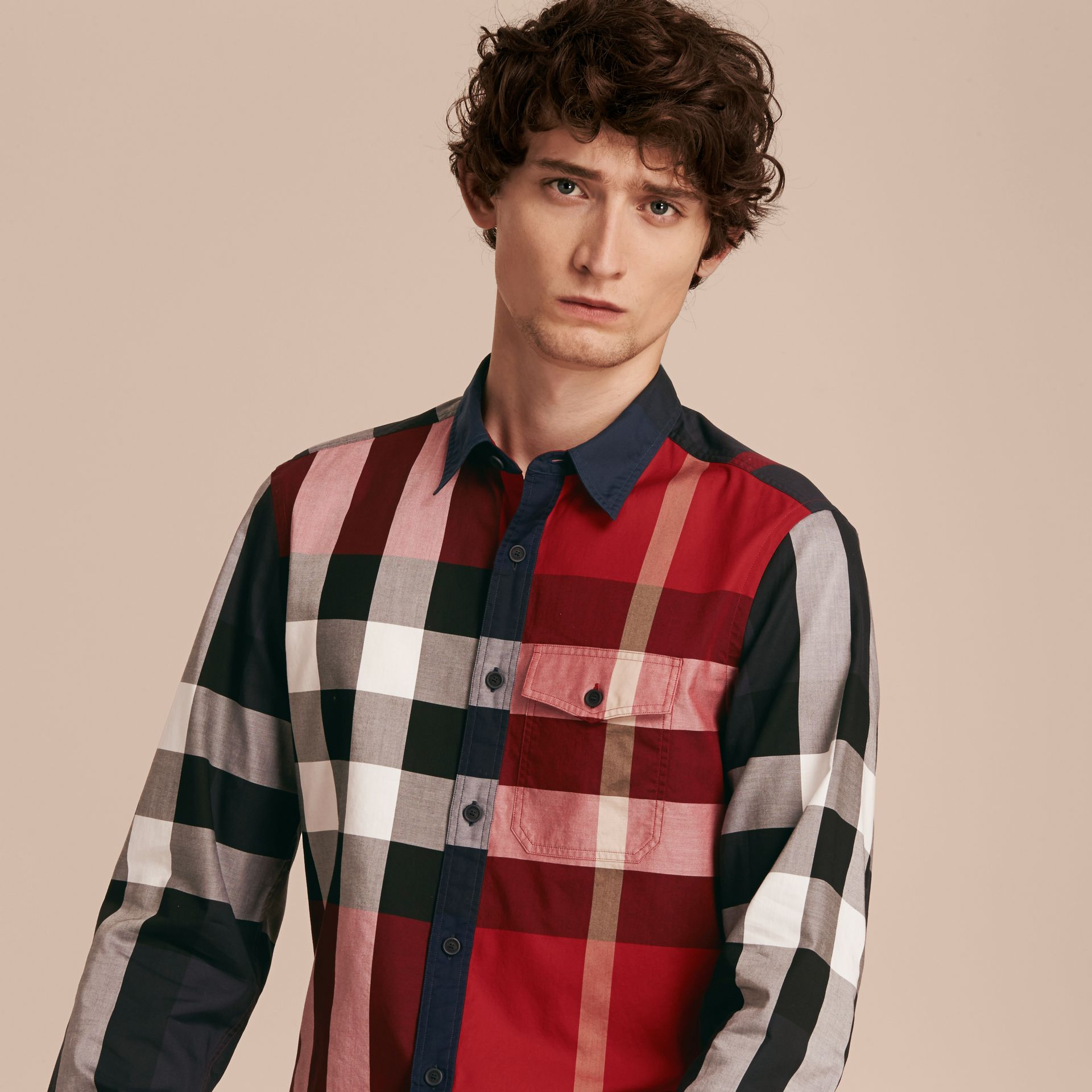 Parade red Check Cotton Poplin Shirt Parade Red - gallery image 6