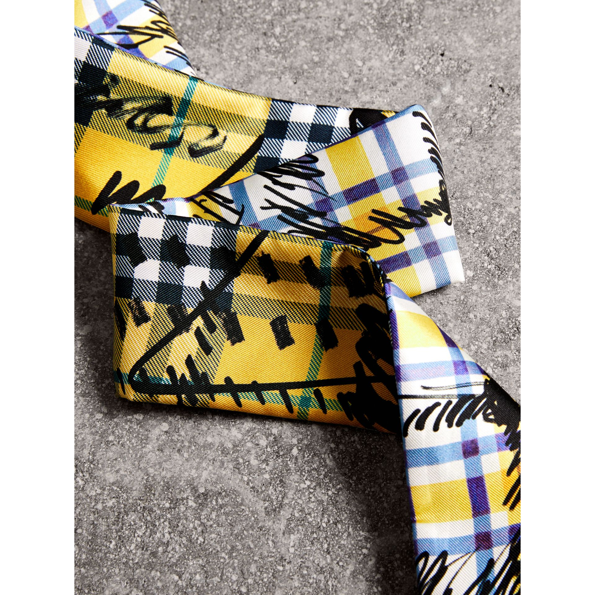 Scribble Check Silk Slim Scarf in Amber Yellow - Women | Burberry - gallery image 1