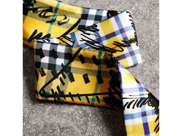 Scribble Check Silk Slim Scarf in Amber Yellow - Women | Burberry - cell image 1