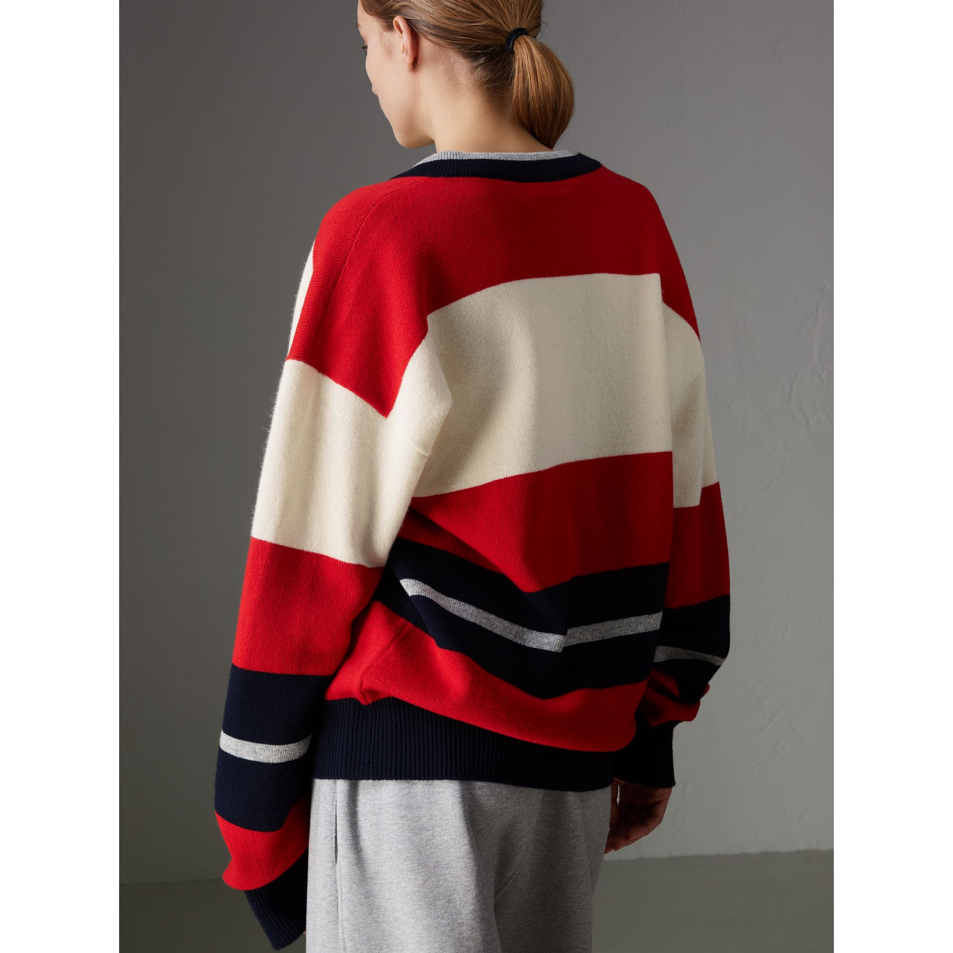 Reissued Striped Lambswool Sweater in Red/white - Women | Burberry United Kingdom - gallery image 2