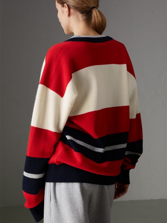 Reissued Striped Lambswool Sweater in Red/white - Women | Burberry United Kingdom - cell image 2