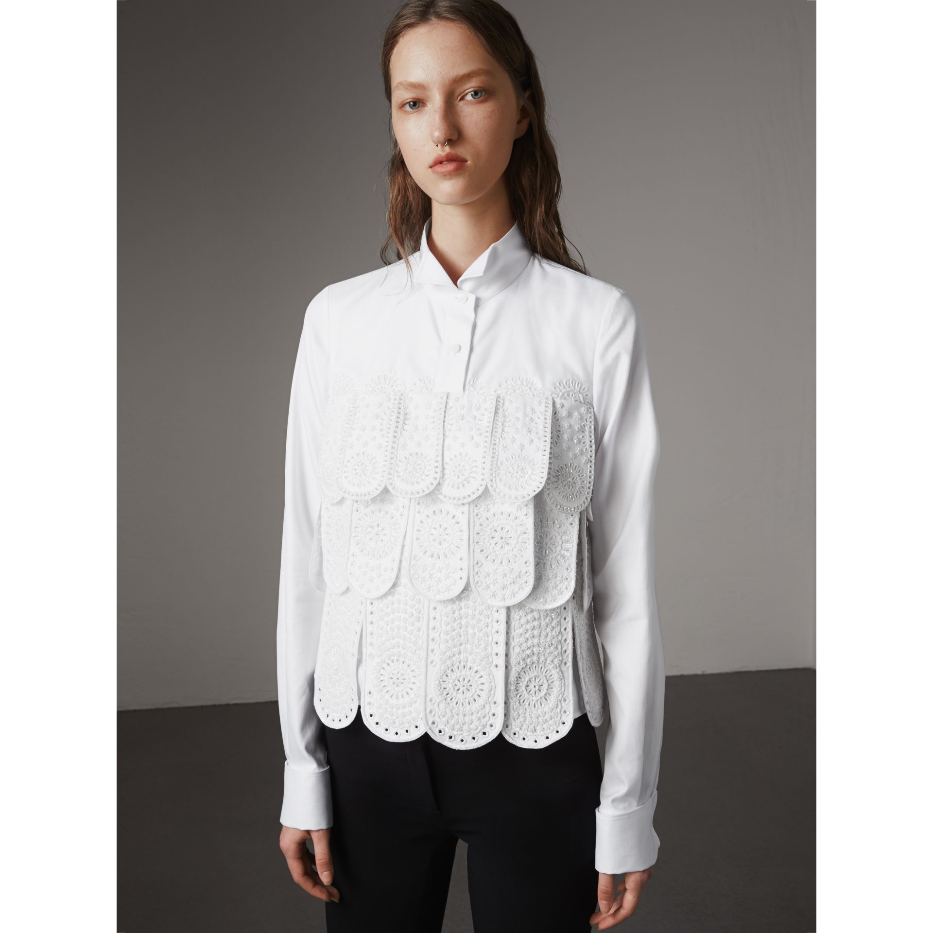 Scalloped Tier Embellished Cotton Shirt in White - Women | Burberry - gallery image 1