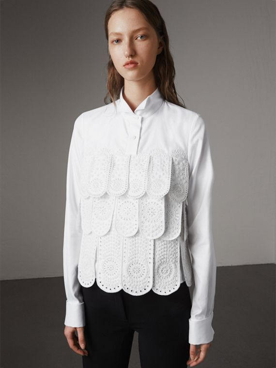 Scalloped Tier Embellished Cotton Shirt in White