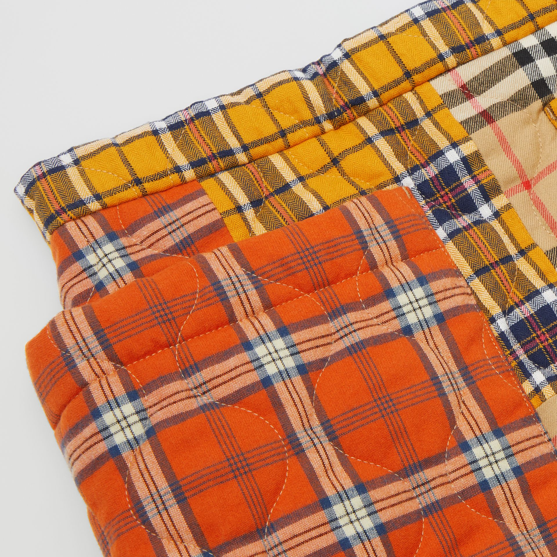 Patchwork Check Cotton Flannel Skirt in Souwester Yellow | Burberry United Kingdom - gallery image 1