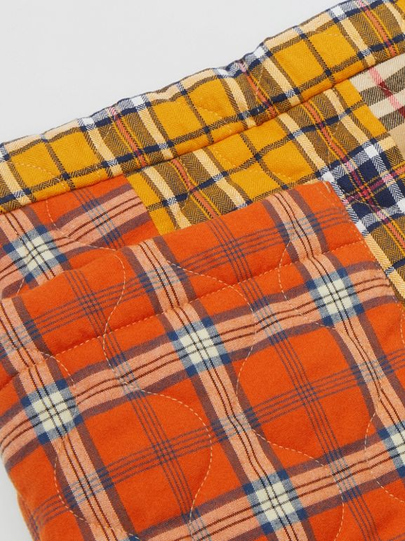 Patchwork Check Cotton Flannel Skirt in Souwester Yellow | Burberry United Kingdom - cell image 1