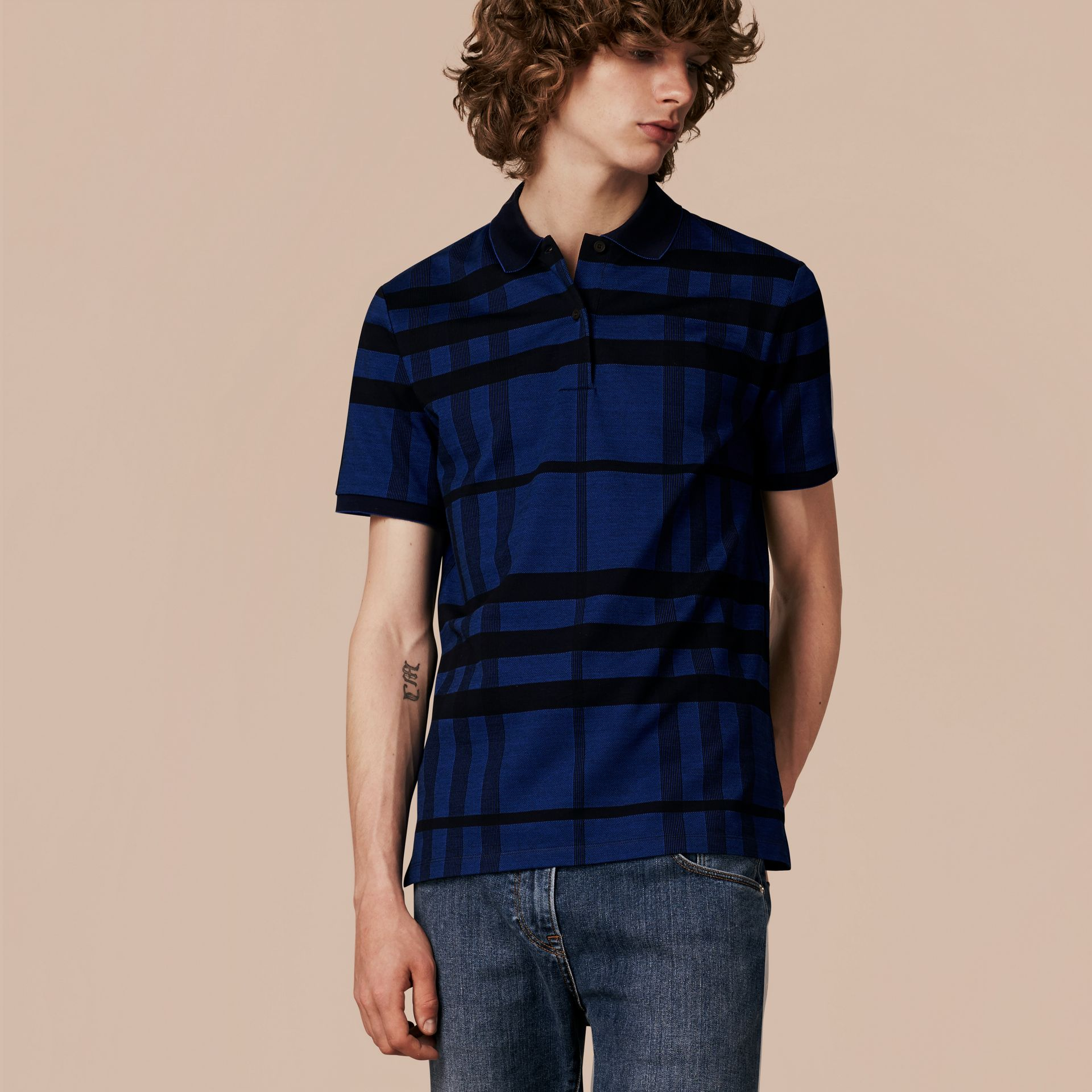 Navy Check Stretch Cotton Polo Shirt Navy - gallery image 1